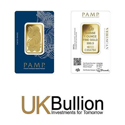 Pamp 1oz (Ounce) Gold Bar 999.90 FREE INSURED EXPRESS DELIVERY