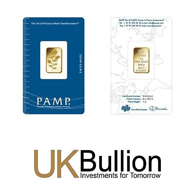 Pamp 5g (Gram) Gold Bar 999.90 FREE INSURED DELIVERY