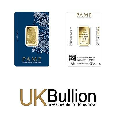 Pamp Fortuna 0.5oz (Ounce) Gold Bar 999.90 FREE INSURED EXPRESS DELIVERY