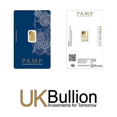 Pamp 1g (Gram) Gold Bar 999.90 FREE INSURED DELIVERY