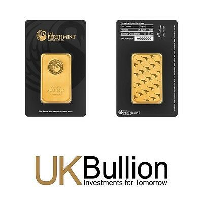 Perth Mint 1oz (Ounce) Gold Bar 999.90 FREE INSURED EXPRESS DELIVERY