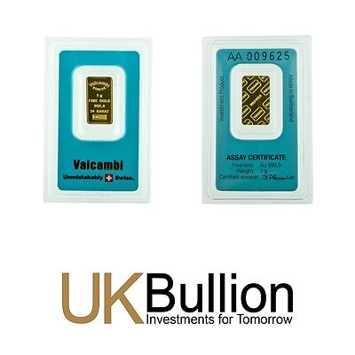 Valcambi 1g (Gram) Gold Bar 999.90 FREE INSURED DELIVERY