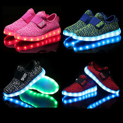 LED Light Up Children Kids Boys Girls Knitted Trainers Luminous Sneakers Shoes