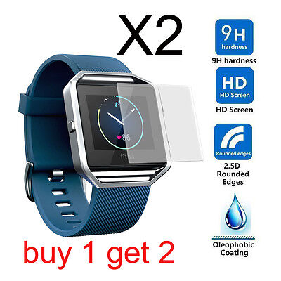 2x Real Tempered Glass Screen Protector for Fitbit Blaze Smart Fitness Watch US