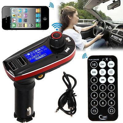 LCD MP3 Audio Player SD Modulator Dual USB Charger Car Kit FM Transmitter Red UK