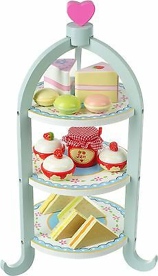 Orange Tree Toys AFTERNOON TEA SET Cake Stand Sandwiches Play Food Kids BN