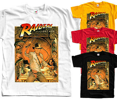 RAIDERS OF THE LOST ARK poster T shirt (White, yellow, red) All Sizes S-5XL