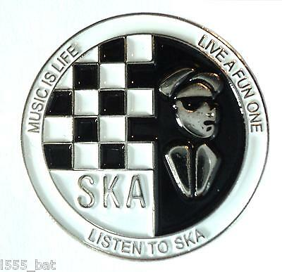 Music Is Life Listen To SKA 2 Tone Reggae MOD Metal Scooter Rider Enamel Badge