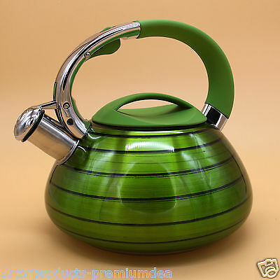 New Stove Top Kettles Tea Whistling Kettle Stainless Steel Stovetop-Green 2.6 L
