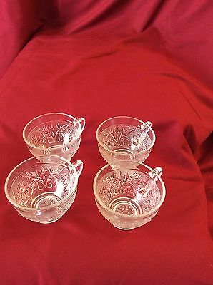 Anchor Hocking Sandwich Glass-Clear, Punch Cups, Set of 4, Vintage