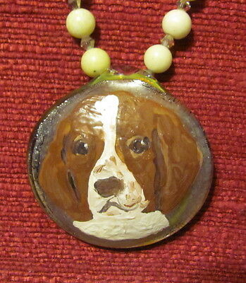 Welsh Springer Spaniel hand painte on round glass pendant/bead/necklace