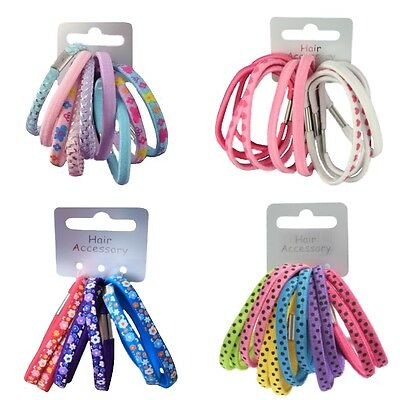 Pack of Girls Patterned Print Hair Elastics Bobbles Hair Bands Choice of Designs