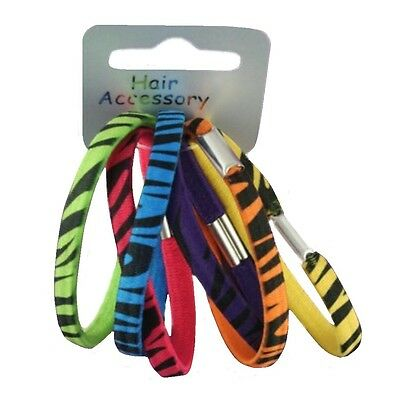 Pack of 6 Bright Animal Print Design Girls Hair Elastics Bobbles Hair Band