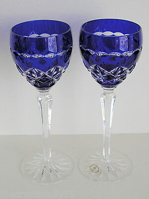 AJKA HUNGARY TILDAN COBALT BLUE CASED CUT TO CLEAR CRYSTAL WINE GOBLETS Set of 2