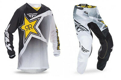 New 2017 Fly Racing Kinetic Rockstar Mesh Gear Combo White/blk/yellow All Sizes