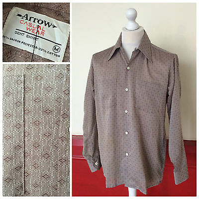 VINTAGE 70s SHIRT DAGGER COLLAR TAUPE GEO 60s RETRO DISCO S131 SIZE M / FITTED L