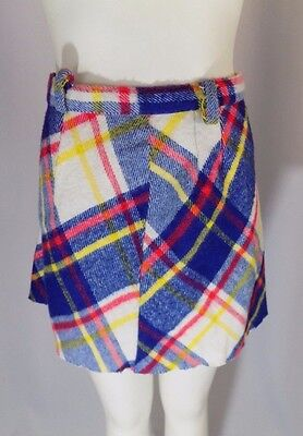 Vintage 70s Girl's Child Youth Blue Red Yellow White Plaid A-Line Skirt EUC