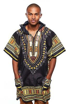 Mens African Swag Dashiki Loose Traditional Long Hoodie Top W/ Hood