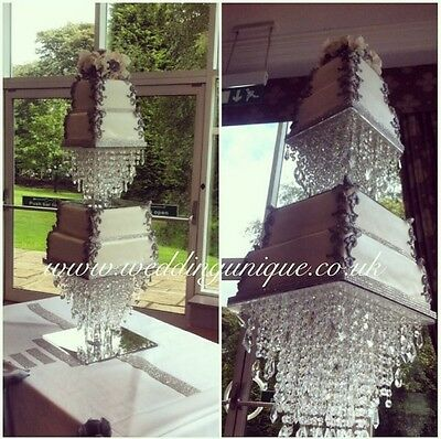 Crystal cake stand wedding cake stand REAL glass chandelier cake stand diamante