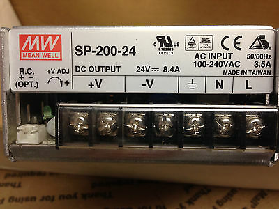 Mean Well SP-200-24 Power Supply [24V DC, 8.4 A, 100-240 VAC AC Input]