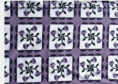 King Size Cheater Quilt Top Lilies Lavender 90 x 108 (3 Yards)
