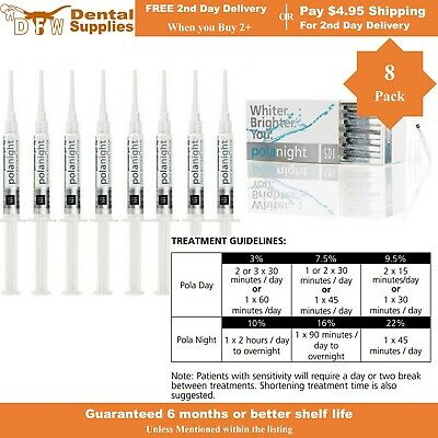 Genuine SDI POLANIGHT (Pola Night) Teeth Whitening Gel 22%, 8 syringes, 1.3g
