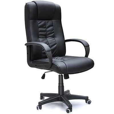 New Black PU Leather Office Chair PC Computer Desk Furniture High Back Swivel