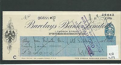wbc. - CHEQUE - CH251 - USED -1940's - BARCLAYS BANK, PETERBOROUGH