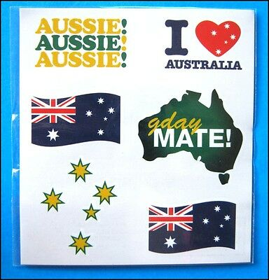 AUSSIE Pride Tattoo Sheet Australian for Cricket Soccer Tennis Events FREE POST