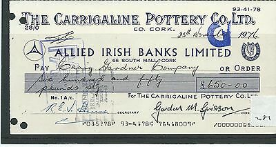 wbc. - CHEQUE - CH281 - USED -1970's - ALLIED IRISH BANKS, CORK - CARRIGALINE