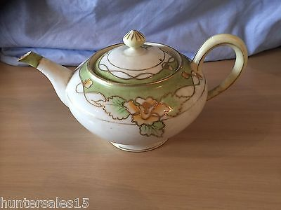 Hand Painted NIPPON Japanese TEAPOT Tea Pot RARE GREEN & GOLD FLOWERS 1950's