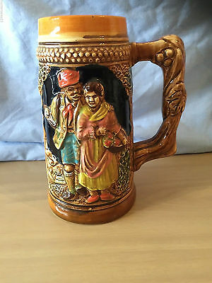 OLD VINTAGE Beer Stein Made in Japan old man and woman holding basket flowers