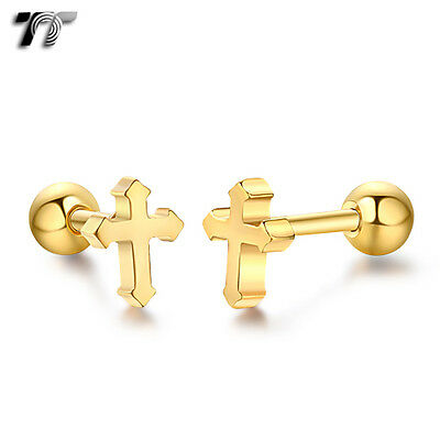 TT Gold Surgical Steel Cross Cartilage Tragus Earrings (TR28J) NEW