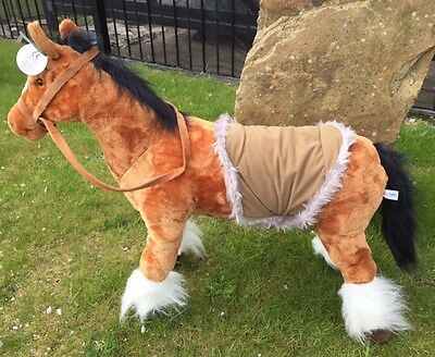 Extra Large Sit on 100kg Silky plush Tan Horse 71cm tall with sounds B3632