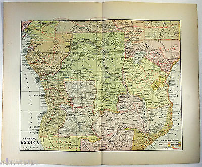 Rare Original 1901 Map of The Partition of Central Africa by Fisk & Co.