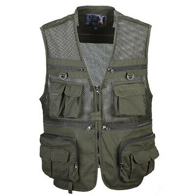 Multi-pocket Fly Fishing Mesh Vest Photography Jacket Tactical Waistcoat XL-XXXL