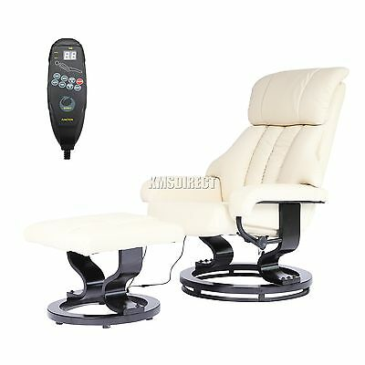 FoxHunter Faux Leather Massage Chair Recliner Sofa Armchair Stool Heating Cream