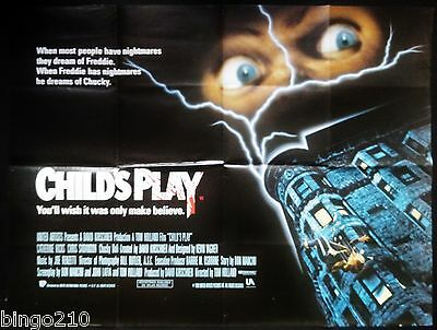 Child's Play Original Quad Poster Chucky Brad Dourif Chris Sarandon Horror 1988