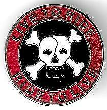 LIVE TO RIDE  BADGE 25mm