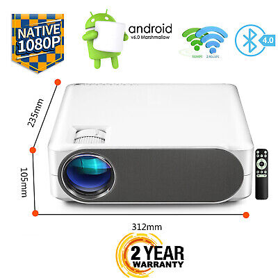 Android LED Projector Home Cinema Bluetooth Multimedia USB HDMI VGA Full HD WiFi