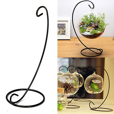 """23cm 9"""" Black Iron Plant Stand Holder for Clear Glass Hanging Vase Home Decor"""