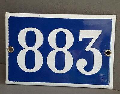 VINTAGE FRENCH HOUSE NUMBER SIGN door gate PLATE PLAQUE Enamel 883 Dark blue