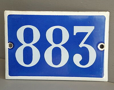 VINTAGE FRENCH HOUSE NUMBER SIGN door gate PLATE PLAQUE Enamel 883 Blue