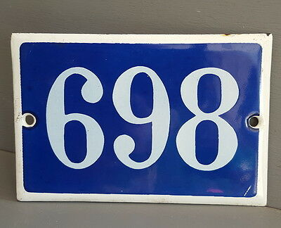 VINTAGE FRENCH HOUSE NUMBER SIGN door gate PLATE PLAQUE Enamel 898 Dark blue