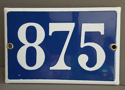 VINTAGE FRENCH HOUSE NUMBER SIGN door gate PLATE PLAQUE Enamel 875 Dark blue