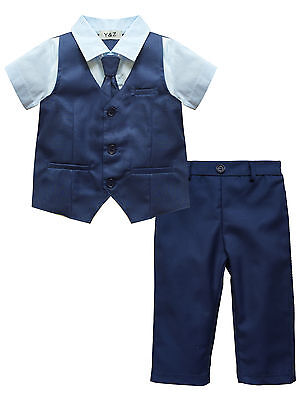 Baby Page Boy Christening Wedding*Tuxedo 2pc Blue Outfit Suit in Matching Cravat