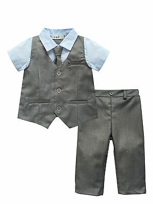 Baby Page Boy Christening Wedding*Tuxedo 2pc Grey Outfit Suit in Matching Cravat