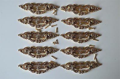 10 Victorian brass folliage drawer handle draw pull desk chest cabinet 2027