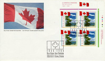 Canada #1546 43¢  30Th Anniversary Of Canadian Flag.ur Plate Block Fdc