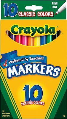 Crayola 10ct Classic Fine Line Markers, Free Shipping, New